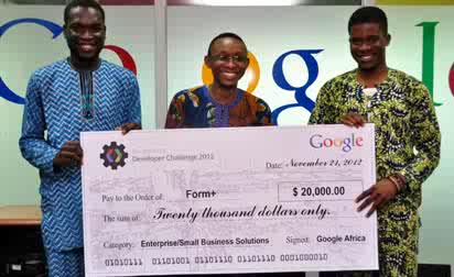 *L-R: Bolutife Ogunsola, Willie Aniebiet, and Michael Adeyeri ; winners of the $20,000 prize in the Google Apps Developer Challenge for their application called Form+