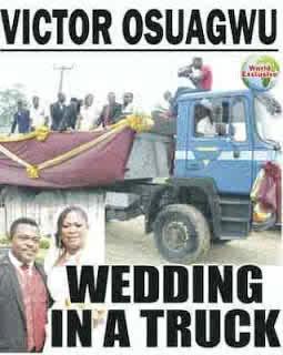 Victor Osuagwu weds in a truck